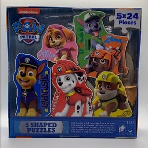 NEW PAW PATROL 5 SHAPED PUZZLES IN ONE BOX!!